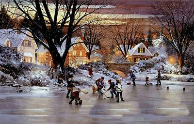 RARE! LITTLE KIDS Boys Girls Ice hockey Winter Forest #5 Collection modern card