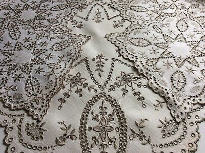 Gorgeous  Set Vintage Linen Table Mats X5 ~ Hand Embroidered Madeira Work