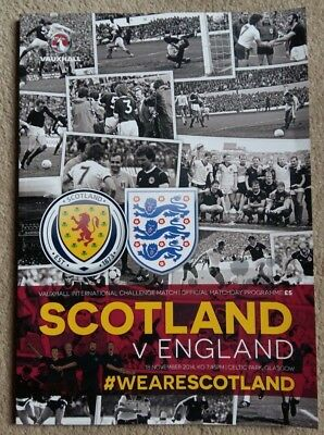 SCOTLAND v ENGLAND (18th November 2014) - MINT CONDITION PROGRAMME & TEAMSHEET