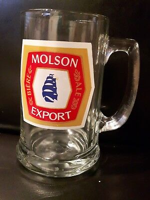 Molson Export beer mug glass excellent condition pint sized
