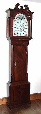 Antique Rolling Moon Mahogany Longcase Grandfather Clock JOHN BANKS OLDHAM