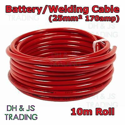 10m Red Battery Welding Cable 25mm² 170a Flexible Marine 4AWG 4 Gauge Power OFC