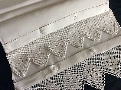 Pair Beautiful Antique Irish Linen Pillowcases ~ Lace~ Button Fastening