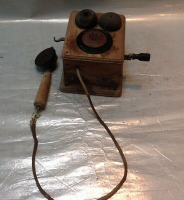 Vintage Hand Crank Type Wall Mount Telephone Magneto Wind In Wood Case + Bells