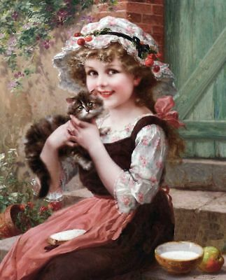 Beautiful Girl & Kitten Cat Flowers Art E. WERNON #11 modern card reprint