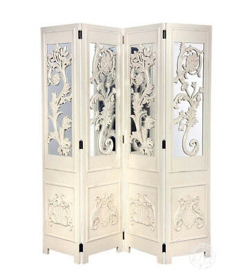 French Antique White Folding Mirrored Dressing Screen Room Divider Shabby Chic