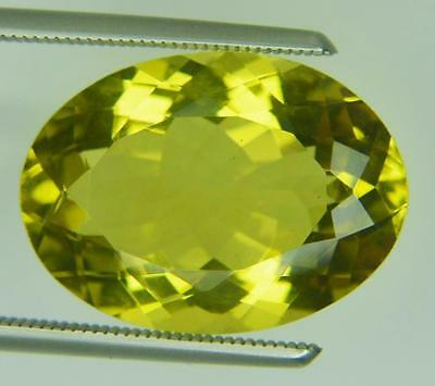 11.02 Ct Natural Yellow Lemon Quartz Loose Gemstone Oval Faceted Cut 13.4 X 18.5