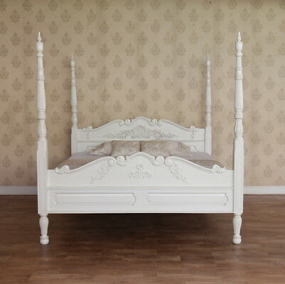 "4'6"" Double Colonial Four Poster Bed Solid Mahogany Antique White NEW B025P"