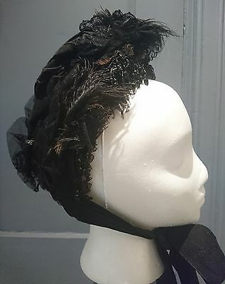 Feather Trimmed 1880s Bustle Era Mourning Bonnet - Makers Mark - Victorian
