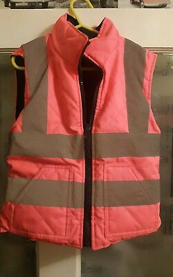 Pink kids Hi Vis Padded body warmer revirsable Age 5-6 horse riding