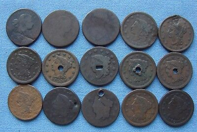 Mixed Lot Of Damaged Large Cents - Some Early Draped Bust - Estate Fresh