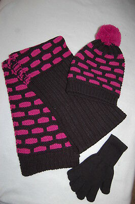 Womens Juniors HAT SCARF GLOVES Winter Set BLACK PINK Heavy Knit ONE SIZE