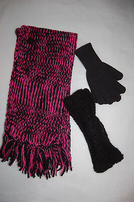 Womens BLACK & PINK 3 PC WINTER SET Gloves EARWARMER HEADBAND Fringe Scarf