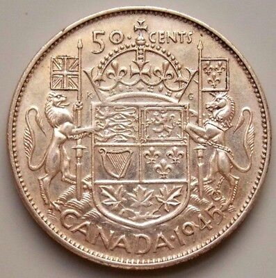 1945 Canada Canadian 50 Cent Silver Coin King George VI