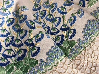 Stunning Vintage Linen Hand Embroidered Tablecloth ~ Forget-Me-Nots/blue Florals