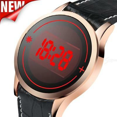 Men's Fashion LED Sport Watches Digital Touch Screen Date Leather Wrist Watch