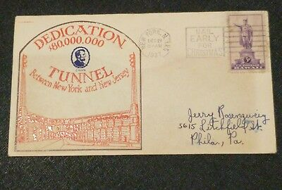 1937 Original Envelope Dedication Lincoln Tunnel Between New York & New Jersey