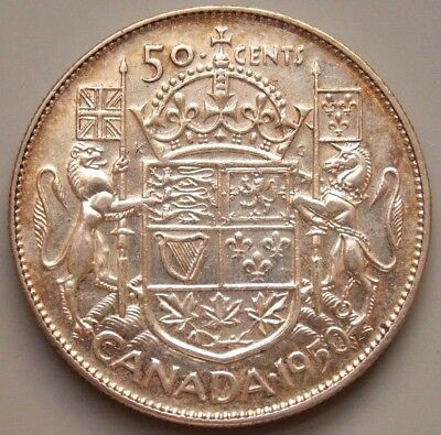 1950 Canada Canadian 50 Cent Silver Coin King George VI