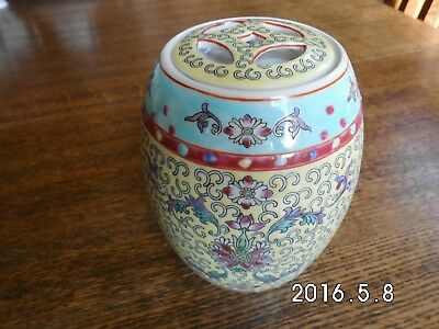 Oriental Chinese Ginger Barrel. Yellow, with lid