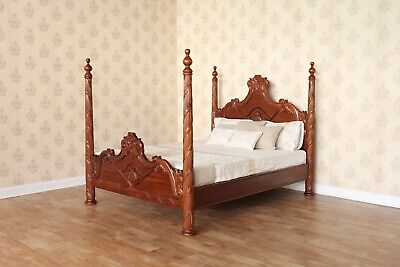 5' King Size Versailles Four Poster Bed Solid Mahogany Hand Carved NEW B026