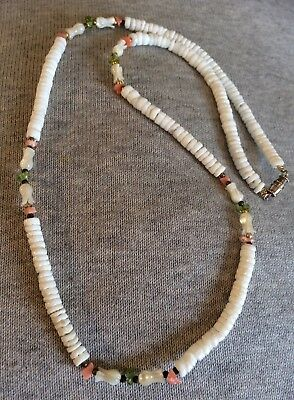 Vintage c. 1960s 70s ? Shell, Mother of Pearl, coral ? & peridot Necklace