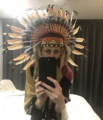 Real Chief Indian Headdress 65cm Native American Costume Hat Feathers, Leather F