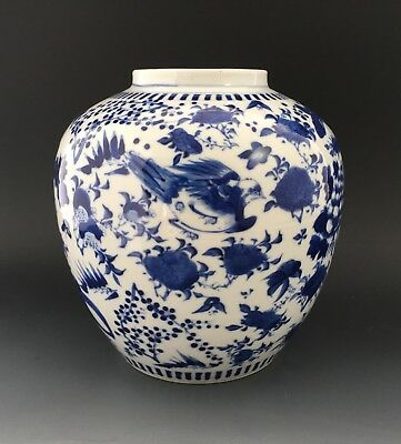 Chinese porcelain jar, birds & insects. c.1850. Four character mark. Daoguang ?