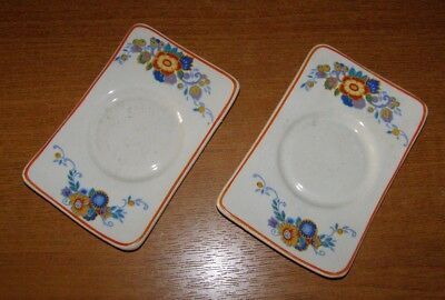 2 x Vintage Rare Adams Oblong Saucers From Picnic Hamper