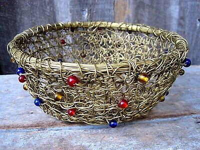 Vintage Wrapped Brass Wire & Colored Bead Bowl Home & Garden Decorative Basket