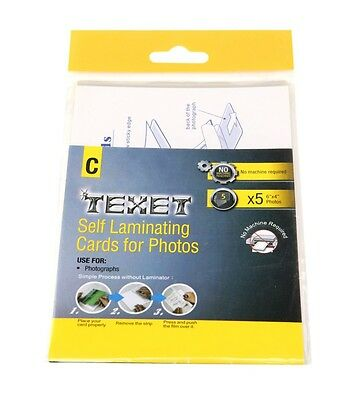 "TEXET PK OF 5 SELF LAMINATING CARDS FOR 6"" x 4"" PHOTOS NO MACHINE REQUIRED"
