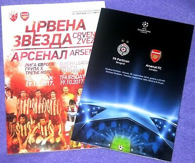 2017, RED STAR v ARESNAL and 2010, PARTIZAN v ARSENAL ! OFFICIAL PROGRAMMES !
