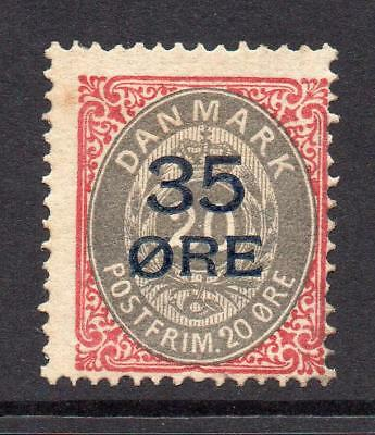 Denmark (Danmark) 35 Ore on 20 Ore Red/Grey Stamp c1912 Mounted Mint