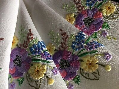 Gorgeous Vintage Linen Hand Embroidered Tablecloth ~ Anemones/spring Florals