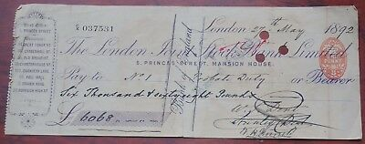 London Joint Stock Bank Ltd., Mansion House London, used cheque dated 1892.