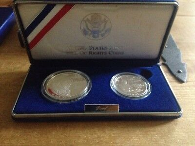 "1993-S U.S. ""Bill of Rights"" PROOF 2 Coin Set (Dollar & Half) COA and Case"