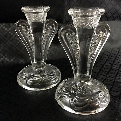 Pair Art Nouveau Candlesticks Candle Holders Glass Pressed 1920s