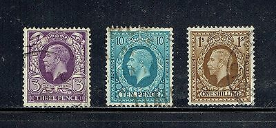 GREAT BRITAIN 192 3p, 199 10p, 200 1sh KGV, 1924 TYPES USED (ID6700)