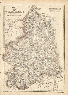 1863  Large Antique Map - Dispatch Atlas- Northumberland