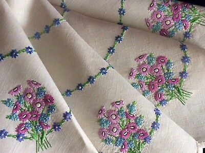 Gorgeous Vintage Linen Hand Embroidered Tablecloth ~ Pink Daisies/forget-Me-Nots