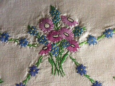 Beautiful Vintage Linen Hand Embroidered Tea-Cosy Cover ~ Pink Daisies