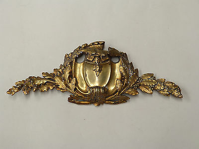 French Antique Bronze Pediment Decoration Furniture Mount Salvaged (3 Available)