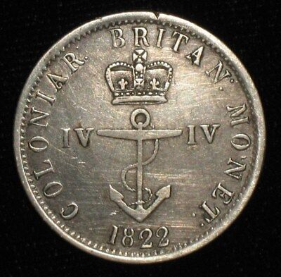 1822, 1/4 Dollar from the British West Indies.  No Reserve!