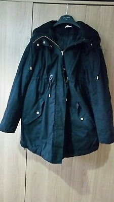 H&M Mama Maternity black hooded parka coat size M