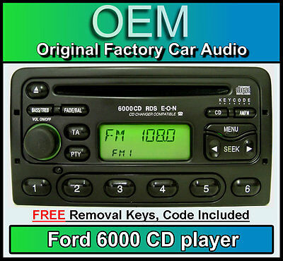 Ford Fiesta CD player, Ford 6000 car stereo with radio removal keys and code