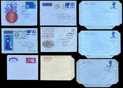 Selection of 9 Great Britain Air Letters, used and unused, including FDCs
