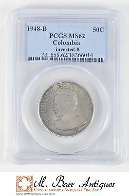 MS62 1948-B Colombia 50 Centavos - Graded PCGS *XC12