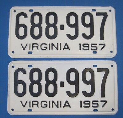 Matched Pair 1957 Virginia License Plates never used excellent