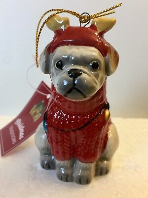 Pug Ornament With Little Antlers