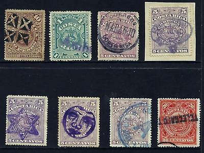 COSTA RICA (G820) COAT of ARMS, VARIOUS CANCELS , USED