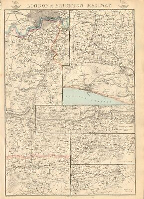 1863  Large Antique Map - Dispatch Atlas- London & Brighton Railway